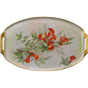 Elegant Hand Painted Vanity/Dresser Tray with Lovely Orange Flowers and Gold Trim