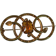 Victorian Engraved Rolled Gold Filled Love Knot Pin/Brooch with Large Faceted Yellow Topaz Crystal Stone
