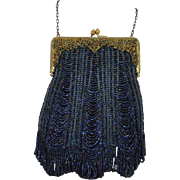 Blue Carnival Glass Beaded Purse with Gold Art Nouveau Metal Frame