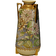 Large Nippon Hand Painted Urn Vase Decorated with Flowers and Gold Gilding