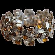 Vintage Estate Signed CORO Silver Tone Link Leaf Design Bracelet