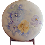Limoges Porcelain Large Round Jewel Box Powder Dresser Jar Hand Painted with Flowers Artist Signed