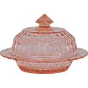 Jeannette Glass Windsor Pattern Pink Depression Glass Butter Dish with Lid
