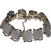 Coro Pegasus White Moonglow Thermoset Lucite and Silver Bracelet