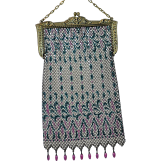 Lovely Art Nouveau Enameled Mesh Purse with Pink and Green Design and Gold Embossed Frame