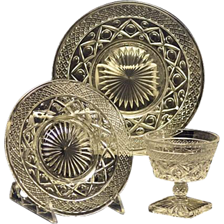 Set of Six Imperial Glass Cape Cod Low Sherbet Glasses, Dessert/Bread Plates and Salad Plates