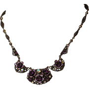 Deep Amethyst Highly Faceted Rhinestone and Enameled Flower Filigree Necklace Western Germany