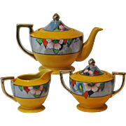 Art Deco Hand Painted Floral Lusterware Three Piece Tea Set Made In Japan
