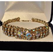 Sparkling Aurora Borealis Rhinestone Prong Set in Goldtone Four Layer Bracelet