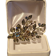 Sparkling Clear and Black Rhinestone Pin/Brooch with Silvertone Setting
