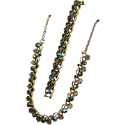 Stunning Aurora Borealis Faceted Rhinestones Goldtone Linked Necklace and Bracelet Set