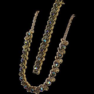Stunning Aurora Borealis Faceted Rhinestones Goldtone Linked Necklace and Bracelet Set