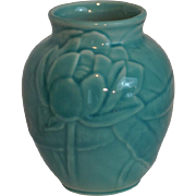 Rookwood Turquoise Vase with Lotus Blossoms High Gloss # 6833 Dated 1948