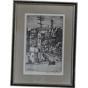 Original Signed Etching of Cincinnati, Ohio Street Scene by Listed Rookwood Artist Edward Timothy Hurley Dated 1923