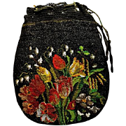 Exquisite Floral Glass Microbeaded Drawstring Reticule Purse