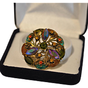 Three Dimensional Multicolored Round Rhinestone Pin
