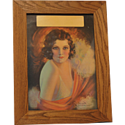 "Calendar Pin-Up Art 1930's Lithograph ""The Debutante"" by Artist R. Wilson Hammell Framed"