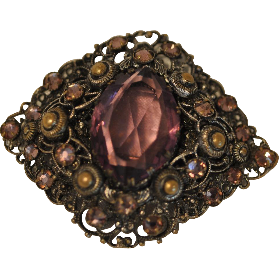 Three Dimensional Czecho-Slovakia Filigree Pin with Large Center Faceted Amethyst Crystal Stone with Trumpet Closure Marked Tchecoclovaquie