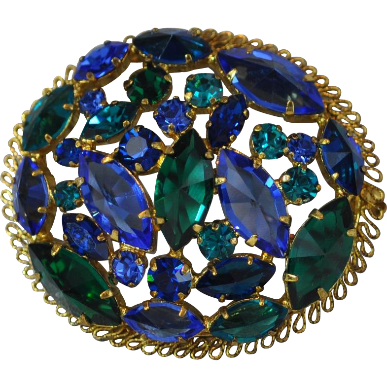 Oval Brilliant Green and Blue Rhinestone Pin with Gold Frame