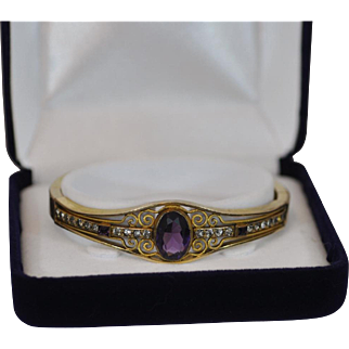Victorian Hinged Gold Filled Bracelet with Large Faceted Glass Amethyst and Rhinestones Marked  Cam  & Co.