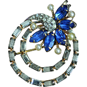 CRC Vintage Jewelry Pin/Pendant 1/20 12 Kt Gold Filled with Sapphire Blue and Clear White Rhinestones with Faux Pearls