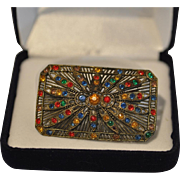 Vintage Sparkling Rectangular Pin Accented with Multicolored Rhinestones