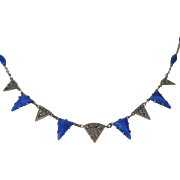 Art Deco Necklace with Blue Art Glass and Marcasites