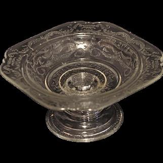 Elegant American Pressed Glass Lace Design Open Compote