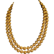 Vintage Monet Golden Textured Beaded Double Strand Necklace