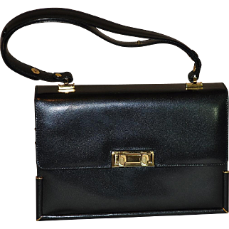 Vintage Black Leather Handbag Made by the Leather Guild Florence Italy