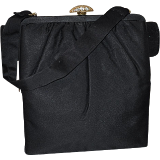 "Vintage ""Crown Lewis"" Silk Faille Handbag with Rhinestone Clasp"