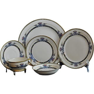 """Vintage 1930's Elegant Set of Noritake """"Daventry"""" Pattern #69544 Full Set for Eight with Extra Pieces"""