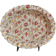"Copeland Rosebud Chintz Pattern (Pink Vine) 9"" Oval Vegetable Bowl Made in England"
