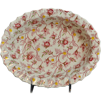 "Copeland Rosebud Chintz Pattern (Pink Vine) 9"" Oval Vegetable Bowl Made in England"