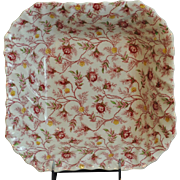 "Copeland Spode Rosebud Chintz Pattern (Pink Vine) 9""Square Serving Bowl Made in England"