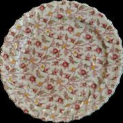 "Copeland Rosebud Chintz Pattern (Pink Vine) Large 13"" Round Chop Plate Made in England 1949"