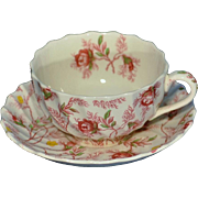 Copeland Spode Rosebud Chintz (Pink Vine) Made in England Pattern Cup and Saucer