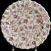 "Copeland Spode Rosebud Chintz Pattern (Pink Vine) 8"" Salad Plate Made in England"