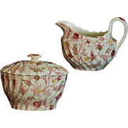 Copeland Spode Rosebud Chintz Pattern (Pink Vine) Made in England Creamer and Lidded Oval Sugar