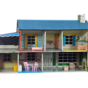 Colorful Vintage Marx Tin or Steel Litho Dollhouse with Furniture circa 1950's