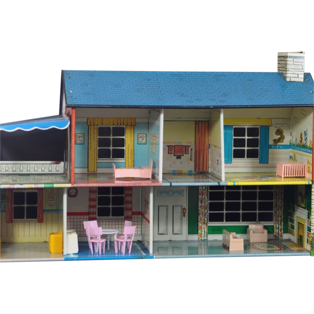 Colorful Vintage Marx Tin Or Steel Litho Dollhouse With