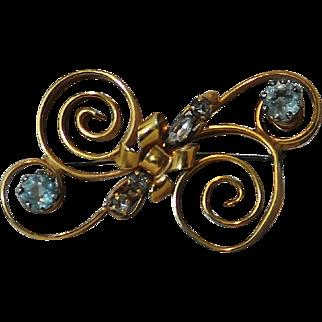 1940's Retro PALM  1/20 12Kt gold Designer Pin with Aqua and Clear Rhinestones