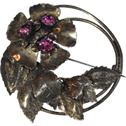 Art Nouveau Gold Washed Sterling Silver Round Leaf Pin Accented with 3 Pink Round Rhinestones