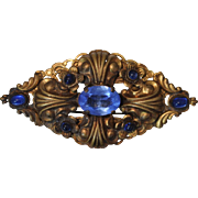 Art Nouveau Brass Pin/Brooch Accented with Deep Blue Glass Stones Trombone Clasp