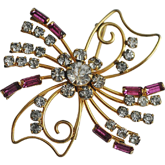 Delicate Gold Filled Pin/Brooch Accented with Pink and Clear Rhinestones