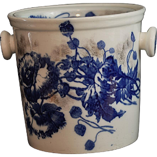 """Flow Blue Master Chamber Pot with Lid """"Harvest"""" Pattern S. Hancock & Sons Stoke on Trent Made In England"""