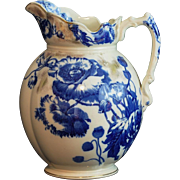"Flow Blue Large Pitcher ""Harvest"" Pattern S. Hancock & Sons Stoke on Trent Made In England"