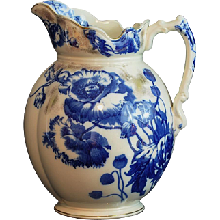 """Flow Blue Large Pitcher """"Harvest"""" Pattern S. Hancock & Sons Stoke on Trent Made In England"""