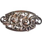 Vintage Tiffany & Company Large Sterling Silver Pin/Brooch with Three Dimensional Floral Design