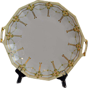 Art Nouveau Coiffe Limoges Cake Plate Serving Plate Hand Painted with Bouquets of Yellow Roses Accented with Gold Artist Signed